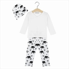3PCS CASUAL V-COLLAR LONG SLEEVE GEOMETRIC PATTERN BEAR PRINTED BABIES