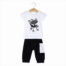 2PCS FASHION BOYS FROG PRINTED ROUND NECK SHORT SLEEVE T-SHIRT SHORTS