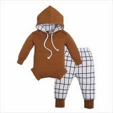 2PCS NEWBORN BABY KIDS LONG SLEEVE TOPS PANTS HAT BOY LOVELY OUTFITS (