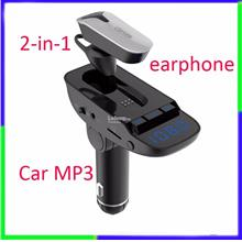 Car Kit MP3 mini earphone bluetooth Dual USB charger Handsfree call