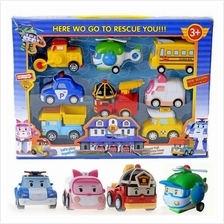 Robocar Poli Pull Back Transformers Robot Amber Roy Helly Car Toy Set