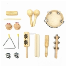 10pcs Percussion Set Wooden Kid Children Toddler Musical Instrument To