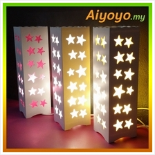 LED Star Wooden Table Lamp Floral Lovely Design Desk Home Writing Stud