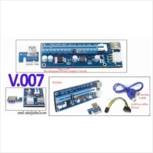 V007 PCIe 1x to 16x Sata/6 Pin USB 3.0 Riser Card Cable GPU Mining PCI-E Zcash