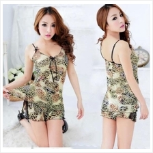 Women Leopard Lace Ribbon Sleepwear Lingerie A395