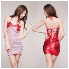 Women Sexy Red Leather Halter Party Dress Lingerie Sleepwear A435