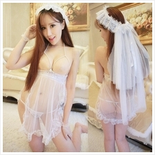 Women White Lace Open Bust Costume Lace Sleepwear S311