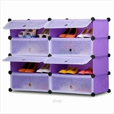 Tupper Cabinet 4 Tier 8 Cubes Purple Stripes DIY Shoe Rack