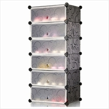 Tupper Cabinet 6 Tier Black Stripes DIY Shoe Rack