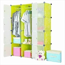 Tupper Cabinet 12 Cubes White Stripes Doors Green Flower DIY Wardrobe