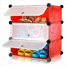 Tupper Cabinet DIY Shoe Rack 3 Cubes Red Stripes