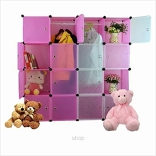Tupper Cabinet 16 Cubes Mix White Stripes Doors Pink Color DIY Wardrobe