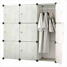 Tupper Cabinet 9 Cubes Grey Wood Design 2-Hanger DIY Wardrobe