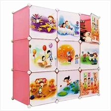 Tupper Cabinet 9 Cubes DIY Pink Color Cartoon Cabinet