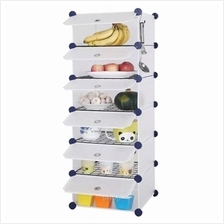 Tupper Cabinet 6 Cubes White Stripes DIY Kitchen Storage with 5 Iron Frame