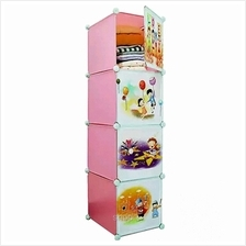 Tupper Cabinet 4 Cubes Straight Pink Color Cartoon DIY Storage Cabinet