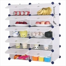 Tupper Cabinet 10 Cubes White Stripes DIY Kitchen Storage with 8 Iron Frame