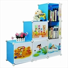 Tupper Cabinet 6 Cubes Sky Blue DIY Cartoon L-Shape Storage