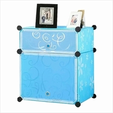 Tupper Cabinet 2 Cubes Blue Flowers Bed-Sided DIY Storage Box Blue Flowers