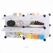 Tupper Cabinet 4 Cubes White Stripes DIY Kitchen Storage with 2 Iron Frame