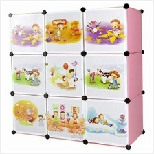 Tupper Cabinet 9 Cubes Pink Color Cartoon Storage DIY Cabinet