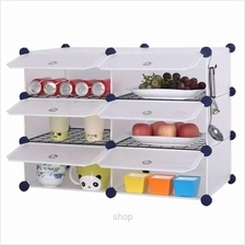 Tupper Cabinet 6 Cubes White Stripes DIY Kitchen Storage with Iron Frame