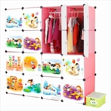 Tupper Cabinet 16 Cube Pink Color DIY Cartoon Wardrobe