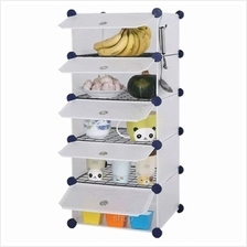 Tupper Cabinet 5 Cubes White Stripes DIY Kitchen Storage with 4 Iron Frame