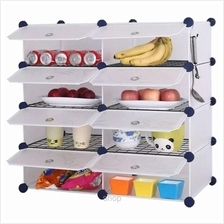 Tupper Cabinet 8 Cubes White Stripes DIY Kitchen Storage with 6 Iron Frame