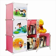 Tupper Cabinet 6 Cubes Pink Color DIY Cartoon L-Shape Storage