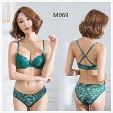 M069 Korean Style Green Lace Sexy Push Up Bra Sets