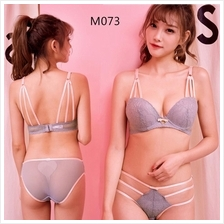 M073 Korean Style Grey Lace Sexy Push Up Bra Sets