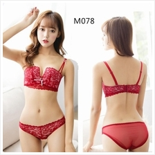 M078 Korean Style Lace Sexy Rimless Push Up Bra Sets