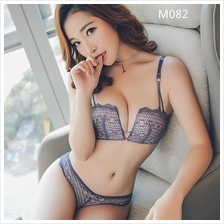 M082 Korean Grey Purple Healthy Rimless Sexy Push Up Bra Sets