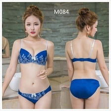 M084 Blue Emboidery Flower Sexy Push Up Bra Sets