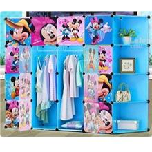 16 CUBE WARDROBE MICKEY & MINNIE WITH CORNER RACK - BLUE