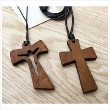 Wooden Cross Pendant Necklace Brown
