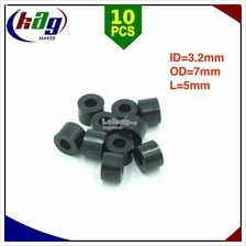 10pcs 5mm M3 Black ABS Nylon Round Standoff Spacer ID=3.2mm OD=7mm