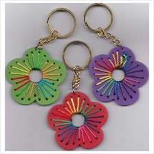 WOODEN FLOWER KEYCHAIN -COLORFUL