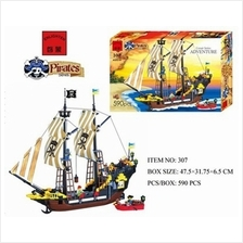 Enlighten Pirate Ship Boat Adventure Building Block 590pcs