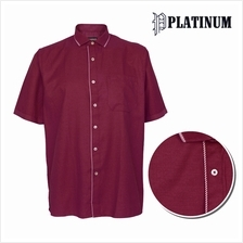 PLATINUM BIG SIZE Dobby Shirt with Piping Collar  & Placket PM8245 (Maroon)