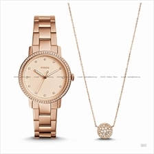FOSSIL ES4330SET Women's Neely Watch & Necklace Gift Box Set Rose Gold
