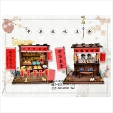 BM817-820 DIY Wooden House Chinese Cuisine with LED light / Dust cover