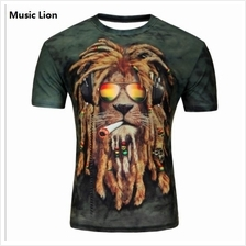 3D t-shirts Men Man Boy Guy Music Lion Clothing Baju singa tops tees
