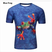 3D t-shirts Men Man Boy Guy Blue Frog Clothing Baju katak tops tees