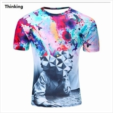 3D t-shirts Men Man Boy Guy Thinking Clothing Baju tops tees