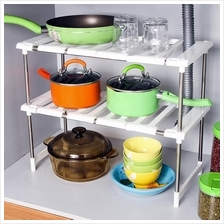 304 Stainless Steel Multipurpose Double Expandable Under Sink Rack