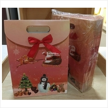 32cm height Standing Paper Bag with Ribbon Christmas Design Gift Party