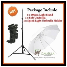 Camzilla Soft Umbrella Speed Lite Flash Mount Studio Light with Stand