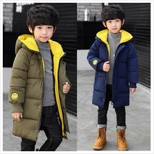 Smiley Embroidery Kids Middle Length Thicken Hooded Winter Coat Jacket